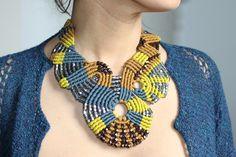 Aztec Disc macrame necklace