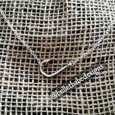 Sideways fish hook charm necklace in silver by BulletBabeDesigns