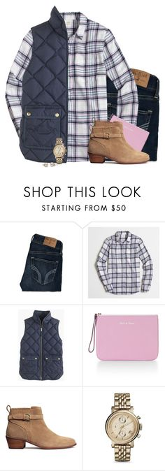 """""""J.crew plaid pastel shirt with navy vest"""" by steffiestaffie ❤ liked on Polyvore featuring Hollister Co., J.Crew, Rebecca Minkoff, H&M and FOSSIL"""