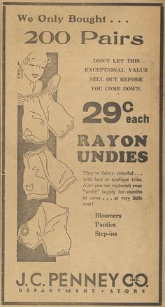 """""""Rayon Undies,"""" J. C. Penney Co., Inc. Department Store, The Lampasas Daily Leader (Lampasas, Tex.), January 31, 1933"""