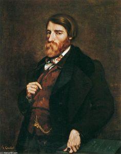 'Porträt von Alfred Bruyas', öl auf leinwand von Gustave Courbet (1819-1877, France)