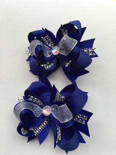 Royal blue mini bling Bows by Forevher  Designs