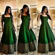 Indian gowns dresses - Keep calm and go green💚 Dress Earrings vogue store Indian Fashion Dresses, Indian Gowns Dresses, Dress Indian Style, Indian Designer Outfits, Pakistani Dresses, Indian Outfits, Dresses Dresses, Pakistani Bridal, Long Gown Dress