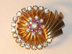 Vintage Art Deco Gold Plated Pink by delightfullyvintage on Etsy