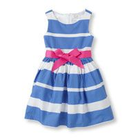 A pink bow cinches the blue and white stripes of this perfectly prim spring dress for her! Available at The Childrens Place! Daytime Dresses, Casual Dresses, Fashion Dresses, Little Girl Fashion, Kids Fashion, Baby Dior, Cute Baby Clothes, Babies Clothes, Easter Dress