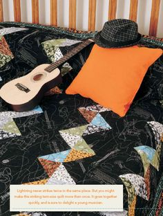 Lightning Strikes quilt pattern from Easy Quilts Fall 2011 issue is the perfect quilt for a music loving kid.