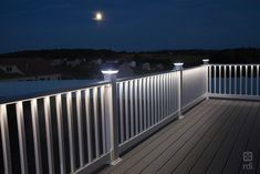 With our plug-and-play LED rail lighting system, there's no need for cutting & splicing. Splitters & harnesses connect with LED accessories easily. Vinyl Deck Railing, Outdoor Stair Railing, Deck Railing Design, Deck Railings, Deck Design, Fence Wall Design, House Gate Design, Stair Lighting, Porch Lighting