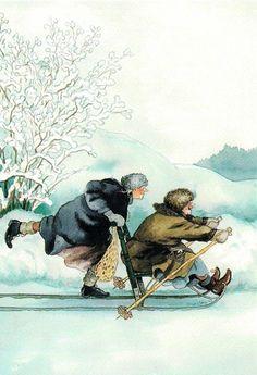 Inge Löök kaart, 2 grannies die ons laten mee genieten van hun heerlijke leven, no 2, enkele kaart,  lekker sleetje rijden