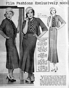 Stylish Hollywood inspired fashions from April 1933. It is interesting seeing a comparison of how the illustration translates to real-life fashion