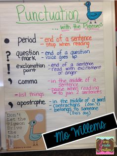 Punctuation with the Pigeon - using Mo Willems' books to teach punctuation
