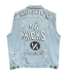 Kingdom of Kicks London Vintage Style Ripped Denim Graphic Vest Women