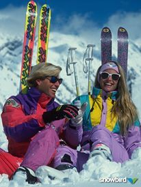 K2 Pastel Neon Snowbird Ski Resort Ad - retro