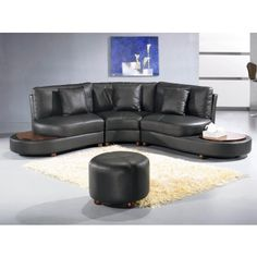 Golf - Contemporary Black Leather Sectional - Sectional Sofas - Living Room