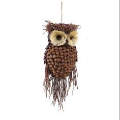 "13"" Modern Lodge Pine Cone and Twig Owl Christmas Ornament Decoration: Christmas Decor : Walmart.com"