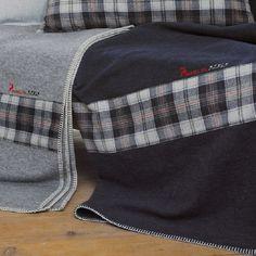 Decke Sylt Alpin, marineblau 200x140 cm - David Fussenegger #blanket #spread #quilt #cotton #checked