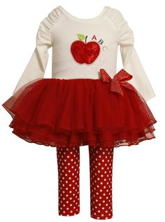 Amazon.com: Bonnie Jean Girls 2-6X de Apple apliques Tutu Conjunto Legging, Ivory, 2T: Ropa