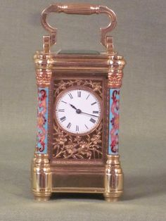 Minaiture Champleve carriage clock. French, circa 1885 http://www.pinterest.com/cato1224/19th-century-carriage-clocks/