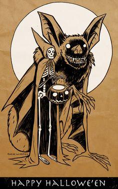 skeleton, jack o lantern, bat