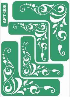 Stencil 008 - green, stencil, stencils, decoupage, materials for decoupage Stencils, Stencil Art, Scroll Saw Patterns, Scroll Design, Stencil Patterns, Stencil Designs, Decoupage, Diy And Crafts, Paper Crafts