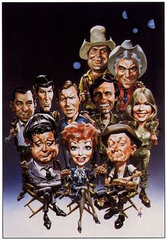 "Jackie Gleason, Lucille Ball, Art Carney, Sergeant Joe Friday from ""Dragnet,"" Leonard Nimoy (Star Trek), William Shatner (Star Trek), Alan Alda (M*A*S*H Hawkeye), Loretta Swit (M*A*S*H Margaret Houlihan), Lorne Green (Ben Cartwright), and Dan Blocker (Hoss Cartwright)  (by Bruce Stark)"