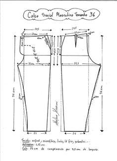 Střih - pánské kalhoty splolečenské (návod vel.36)