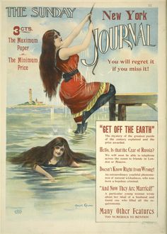 Image of ladies swimming, on the cover of, The New York Sunday Journal, c.1893.  American Gilded Age, ladies swimming attire. ~ {cwl} ~ (Image: NYPL)