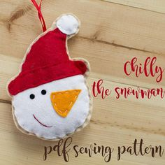 Items similar to Chilly the snowman- PDF sewing pattern, felt snowman, Christmas ornament, softie on Etsy Felt Snowman, Snowman Christmas Ornaments, Christmas Stockings, Pdf Sewing Patterns, Softies, Hand Stitching, Make Your Own, Etsy, Holiday Decor
