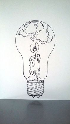 Resultado de imagen para dessins très angoissants, Candle Drawing, Drawing Lightbulb, Light Bulb Drawing, Fire Drawing, Painting & Drawing, Cool Drawing Designs, Creative Drawing Ideas, Ideas For Drawing, Cute Drawings Tumblr