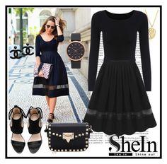 """Black Chiffon Skirt Shein"" by mamiigou ❤ liked on Polyvore featuring moda, Sonal Bhaskaran y Marc by Marc Jacobs"