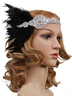 DIY your photo charms, 100% compatible with Pandora bracelets. Make your gifts special. Vijiv Vintage Black Feather Silver 20s Headpiece 1920s Flapper Headband