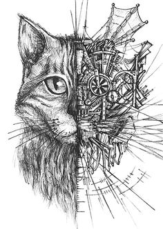 Hybrid drawing of a half cat half mechanic construction engine. Chat Steampunk, Steampunk Drawing, Steampunk Kunst, Steampunk Artwork, Steampunk Animals, Hybrid Art, Mechanical Art, A Level Art, Cat Drawing