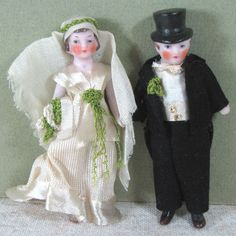 "All Bisque & All Original Hertwig Bride & Groom 3 1/4"" & 3 1/2"""