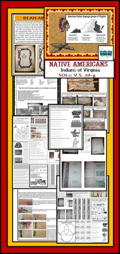 Native American unit is full of flipbooks, maps, interactive notes, crafts and assessments about the 3 language groups, adapting to their environment, the importance of the deer and waterways, and the homes of native Americans of Virginia. SOL review.