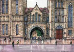 Manchester University by Anthony MacCarthy University Of Manchester, Limited Edition Prints, Athens, Notre Dame, Taj Mahal, History, Building, Travel, Image