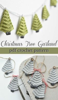 Quick Handmade Gifts Such a lovely crochet pattern for this simple Christm. - Quick Handmade Gifts Such a lovely crochet pattern for this simple Christmas tree garland! Make a whole garland or make one as a tree ornament. Makes a quick handmade gift! Christmas Tree Garland, Crochet Christmas Ornaments, Christmas Crochet Patterns, Christmas Applique, Diy Christmas, Christmas Projects, Simple Christmas Crafts, Holiday Crafts, Hygge Christmas