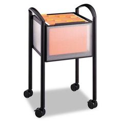 """Safco - Impromptu Open File Cart 20-1/4 X 19 X 29-3/4 Black """"Product Category: Office Furniture/Printer/Office Machine Carts & Stands"""". Impromptu Open File Cart 20-1/4 x 19 x 29-3/4 Black - Distinctive styling complements the contemporary office. - Powder coated steel frame with translucent polycarbonate panels. - Accommodates letter or legal size hanging files. - Four swivel casters two locking for easy mobility. - Color: Black Caster/Glide/Wheel: Four 2 1/2"""" Swivel Casters (2 Locking)..."""