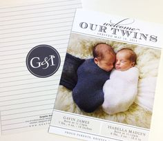 Twin Birth Announcement - the sweetest!