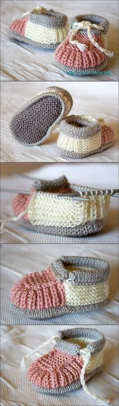 40 Knit Baby Booties with Pattern - Mais
