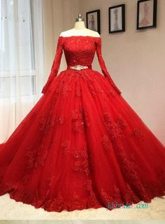 Vintage red long sleeved ball gown wedding dress with lace bodice and off the shoulder