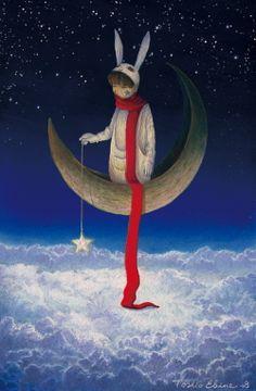 Artist Toshio Ebine dream worlds hare