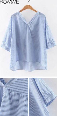 Blue V Neck High Low Hem Striped Blouse