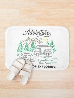 The Family Adventure - Never Stop Exploring Outdoors.  Experience the Great Adventure - Never Stop Exploring Outdoors.  Take your family and friends who love traveling and head towards the mountains.  Time for a vacation or holiday to have fun and see the sun.  Spend the day hiking or relaxing at the beach.  #camping #wilderness #outdoors #adventure #getoutside #giftideas #fashion #onlineshopping #redbubble #art #redbubblecommunity #redbubbleshop #ad #findyourthing @redbubble @giftsbyminuet Family Adventure, Greatest Adventure, See The Sun, Beach Camping, Never Stop Exploring, Get Outside, Wilderness, Bath Mat, Have Fun