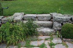 New England Retaining Wall and Steps Yard Stones, Stepping Stones, Backyard Gates, Stone Fence, Lake Cottage, Organic Gardening, Garden Landscaping, New England, Landscape