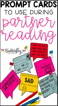 Whether you call it partner reading, buddy reading, or read-to-partner, these book talks help students stay engaged when reading and discussing texts with each other. These editable prompt cards can be used for any grade level! Social Studies Resources, Reading Resources, Reading Strategies, Teacher Resources, Reading Tips, Close Reading, Guided Reading, Reading Fluency, Reading Centers