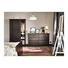 HEMNES Komoda, 8 zásuviek - čierno-hnedá - IKEA