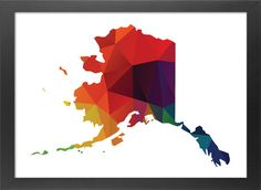 Alaska Map Printable File, Alaska State Silhouette Geometric Polygon Pattern in Red, Green Blue, Yellow, Orange, Purple Colors.  **This listing is