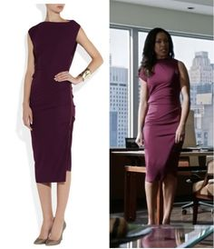 Gina Torres, as Jessica Pearson, in Roland Mouret's Bilboa crepe-jersey dress
