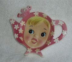 Vintage Napco Holt Howard Miss Cutie Pie Tea Bag Holder