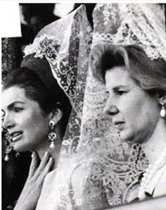 Jackie Kennedy in Spain, with the Duchess of Alba, wearing a mantilla and comb.