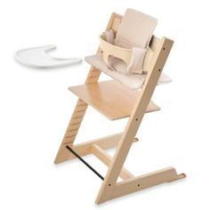 Stokke – Tripp Trapp Bundle – Natural High Chair, Natural Baby Set, Beige Strip Cushion & Tray by Stokke